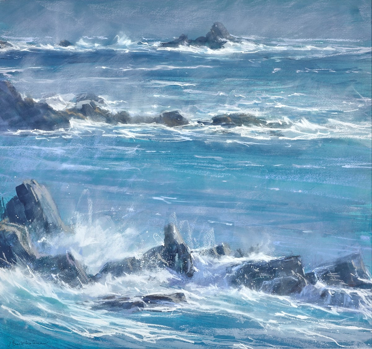 Battered Headlands, Land's End 2 by james bartholomew -  sized 31x29 inches. Available from Whitewall Galleries